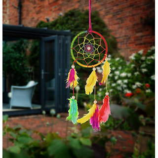 ILU Dreamcatcher Wall Hanging Handmade Beaded Circular Net Decoration Ornament Size 8 CM Diameter Multicolor