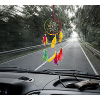ILU Dreamcatcher Car Front Mirror Hanger Handmade Beaded Car Accessories Size 8 CM Diameter Multicolor