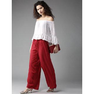 EverDiva Maroon colour Stretchable comfortable Rayon palazoo Pant