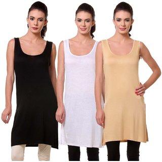 Vansh fashion Multicolor Casual Cotton Plain Tank Tops Camisole (Pack of 3) White,Black,Skin