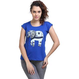Origin Indie Blue Elephant(Black)Print Top