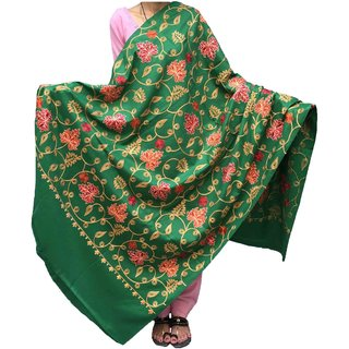 Varun Cloth House Women's Woollen Kashmiri Aari Zaal Embroided Shawl (vch3930, Green)