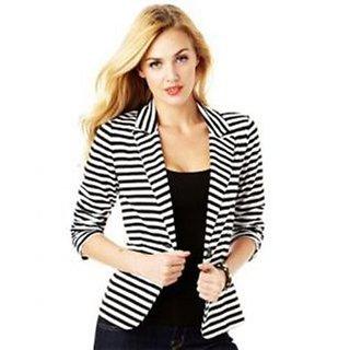 Raabta Fashion Black  White Strip Semi Winter Blazer