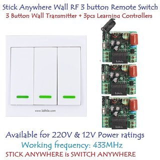 Stick Anywhere Wall Switch 3 Button RF Remote 3 Learning Controllers 220V 12V