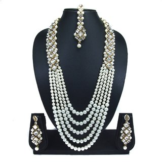 Padmawati White Crystal Kundan Five Line Pearl Long Mala Necklace Dangler Earrings Mang Tikka Jewelry Set