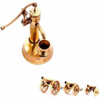 SAARTHI Rajasthani Antique Decorative Handcrafted Vintage Unique Elegant Brass Canon set of 3 with Miniature Working Hand Pump Desktop Dcor Room Decor Showpiece  Interior Decoration Items  Home Office Caf Dcor  Home Accent