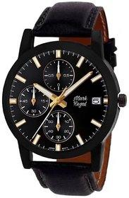 Mark Regal Round Dail Black Leather StrapMens Quartz Watch For Men
