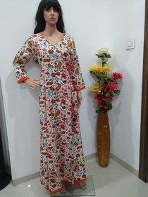 Long multicolour cotton printed gown