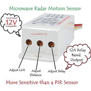 E54C DC 12V Adjustable Microwave Radar Motion Sensor Detector Relay Switch