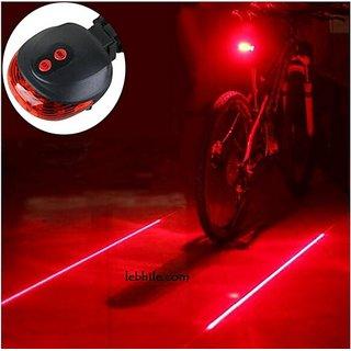 E47R Bicycle Bike Rear Tail Safety Warning 5 Red LED 2 Laser Flashing Lights