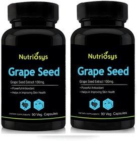 Nutriosys Grape Seed - 100mg 180 Veg Capsules- Pack Of 2