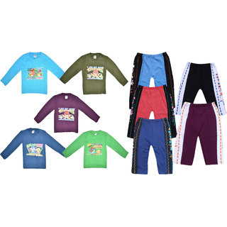 JF boys Full Sleeves Tshirt 5 Pcs and Payjama with Rib 5 Pcs combo Set