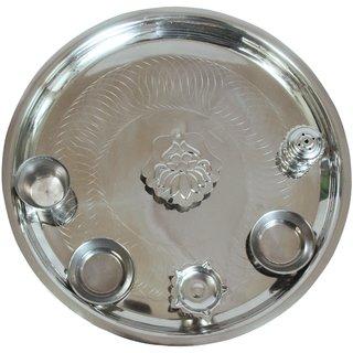 Evershine Stainless Steel  Decorative Pooja Thali 29 CM