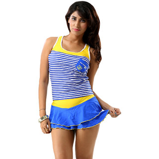 Tempting And Significant Multi Blue Scoop  Neck Cut-Sleeve Beachwear Cover-Up
