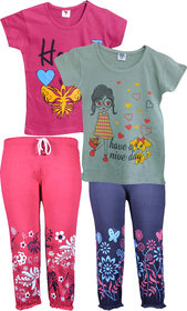 Jisha Fashion RKGGIRLSPRNT  Top and Printed Capri Pack of 2 Pcs