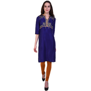 Wish Tree Women Blue Kurti With Golden Zari Work On Tasser Silk Fabric