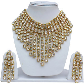 Lucky Jewellery Designer White Color Stone Gold Plating Necklace Set For Girls & Women (1403-L1SS-139-W)