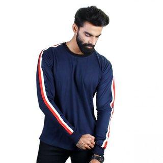 39b67556dc The Royal Swag Men s Cotton Full Sleeve T-Shirt - Navy Blue Striped Panel