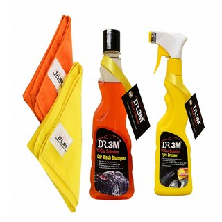 2 PC CAR MICROFIBER CLOTH+ CAR TYRE POLISH 250ml.+ CAR WASH SHAMPOO 250ml.