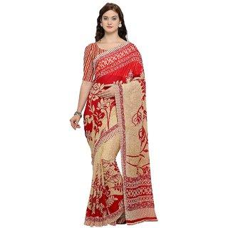 Triveni Red Georgette Casual Printed Saree