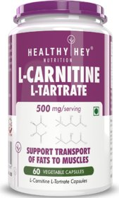 HealthyHey L-Carnitine  L-Tartrate (LCLT) 500mg - Support Transport of Fats to Muscles - 60 Vegetable Capsules