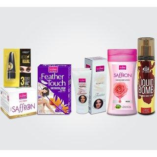 Women Beauty Gift Set(Hair Remover Honey/Saffron  Saffron Advance Fairness Cream  Body Lotion Rose  Liquid Foundation