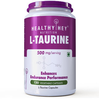 HealthyHey L-Taurine 500mg - Amino Acid Supplement - 120 Vegetable Capsules
