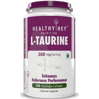 HealthyHey L-Taurine 500mg - Amino Acid Supplement - 120 Vegetable Capsules