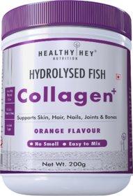 HealthyHey Fish Collagen Powder 200g - Hydrolyzed Fish Collagen Peptides  (Orange Flavour, 200g)