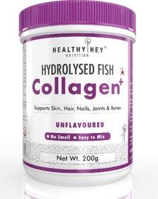 HealthyHey Fish Collagen Powder 200g - Hydrolyzed Fish Collagen Peptides  Paleo Friendly, Non-GMO (Unflavoured, 200g)