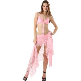 Stunning  3-Piece Baby Pink  Color Ruffled Neck  Sarong Set With Matching Boyleg Bottom