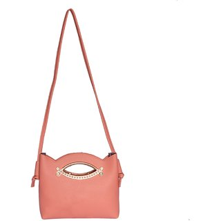 Buy Borasamania Womens PU Leatherette Designer Peach Side Purse ... 66b4318a15249