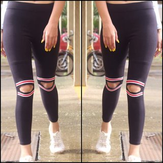 Code Yellow Women's Colorful Knee Cut Black Stretchable Jeggings Yoga Gym Wear