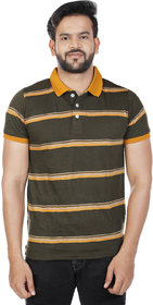 Men's Green Striped Polo T-Shirt