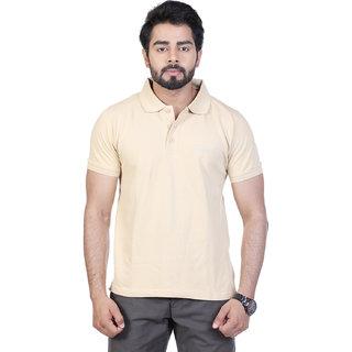 Mens Biege Solid Polo T-Shirt
