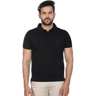 Mens Black Solid Polo T-Shirt