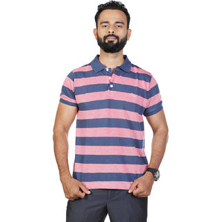 Mens Blue Striped Polo T-Shirt