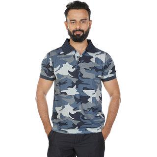 Mens Blue Printed Polo T-Shirt