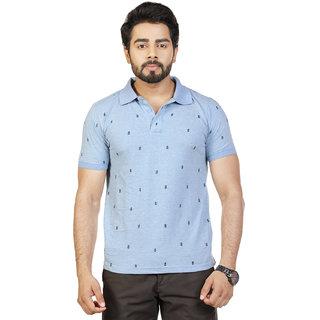 Mens Blue Printed Polo Collar T-Shirt