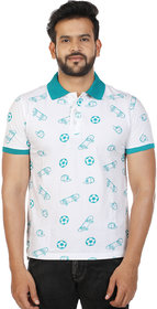 Men's Reguar Fit White Printed Polo T-Shirt