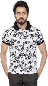 Men's White Printed Casual Polo T-Shirt