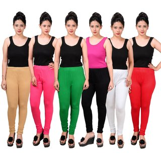 MAA-AADYA Set of 6pcs multicolor Cotton leggings for Women
