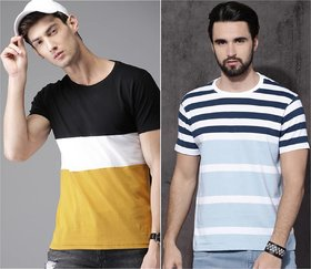 29K Multicolor Digital Print Cotton Blend Round Neck Casual T-shirt For Men Pack Of 2