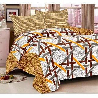 The Intellect Bazaar 100% Pure Cotton 144 TC Double Bedsheet with 2 Contasted Pillow Covers (Yellow)