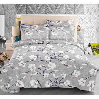 The Intellect Bazaar 100% Pure Cotton 144 TC Double Bedsheet with 2 Contasted Pillow Covers (Grey)