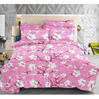 The Intellect Bazaar 100% Pure Cotton 144 TC Double Bedsheet with 2 Contasted Pillow Covers (Pink)
