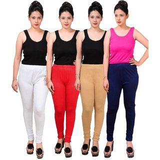 MAA-AADYA Set of 4 pcs multicolor Cotton leggings for Women