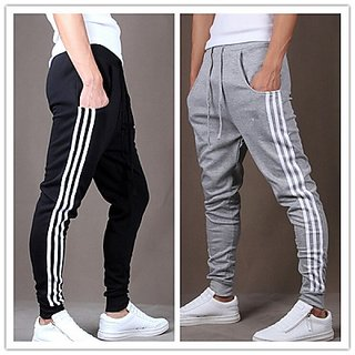 ToYouth Men's Black  Grey Cotton Blend Trackpants Combo of 2