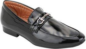 Voila Men Glossy Black Leather Shiny Patent Formal Shoe - 140524886