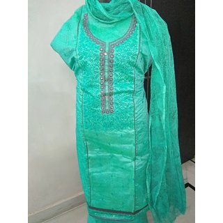 Flattering Green colored Embroidered Chanderi Dress Material for Women